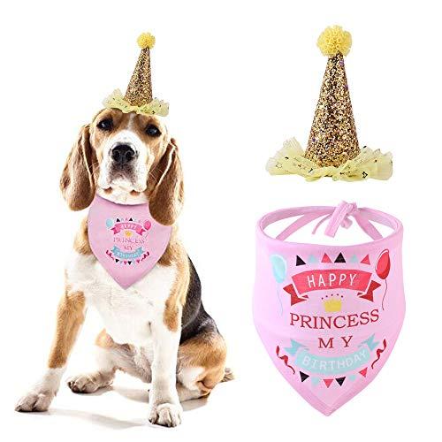 Sombrero de Cumpleaños Para Perros,Triángulo de Pañuelo de Cumpleaños para Perros,Set de Cumpleaños para Mascotas,Bufanda de Pañuelo Triangular para Fiesta Conjunto y Decoración de Cumpleaños(Rosa)