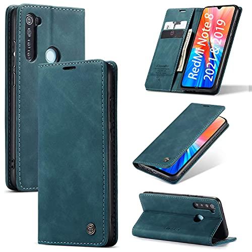 KONEE Hülle Kompatibel mit Xiaomi Redmi Note 8 2021 und 2019, Lederhülle PU Leder Flip Tasche Klappbar Handyhülle mit [Kartenfächer], Cover Schutzhülle für Xiaomi Redmi Note 8 2021 und 2019 - Blaugrün