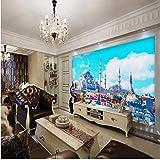 Fototapete 3D Für Wand 3D Schöne Landschaft Islamische Kirche Wohnzimmer Hotel Balkon Dekorative Benutzerdefinierte Tapete-400cmx280cm