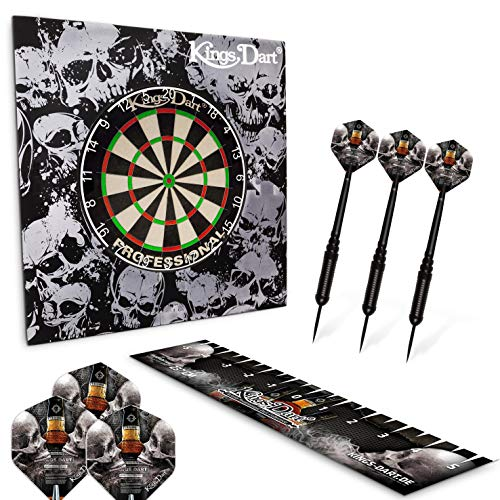 Kings Dart Dart-Set Skull 'n' Whisky | Dartboard Komplettset: Turnier-Dartscheibe, Dart-Surround, 3X Steeldarts, Flights, Abwurflinie | Für Soft- u. Steeldart | ø 45 cm | Markenqualität