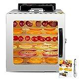 Kwasyo Deshidratador de Alimentos Acero Inoxidable, Recetas, con Temporizador, Pantalla LCD, Temperatura Regulable...
