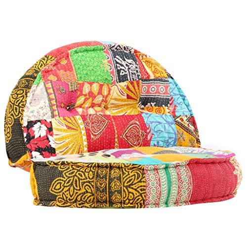 vidaXL Pouf Rotondo Imbottito in Gommapiuma Divano Patchwork Sofa Morbido Comodo Pouf Lounge Arredi Casa 100x20 cm in Cotone Multicolore
