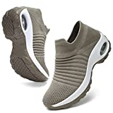 HKR Walking Sneakers for Women Lightweight Sock Shoes Slip Resistant Work Shoes with Arch Support Taupe 6