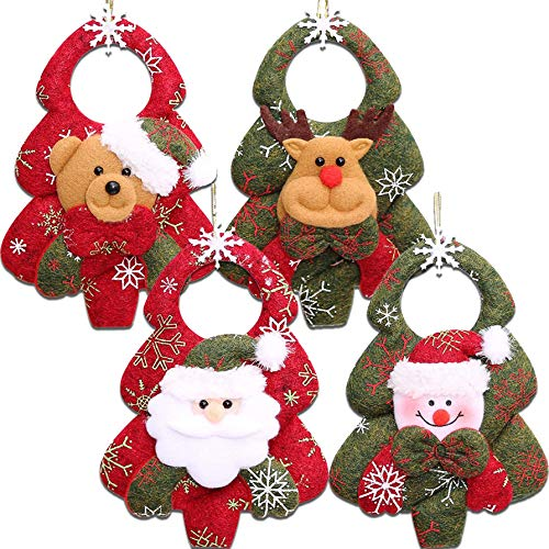 Yomiie 4 Pack Christmas Tree Pendant Ornament Sets Plush Doll Ornament Xmas Santa Clause Snowman Reindeer Bear Hanging Decoration Festive Season Stocking Ball Bell Holiday Party Decor