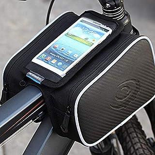 حقيبة صغيرة مزدوجة للهاتف المحمول 4.8 انش للتثبيت على اطار الدراجة الامامي 1.8L