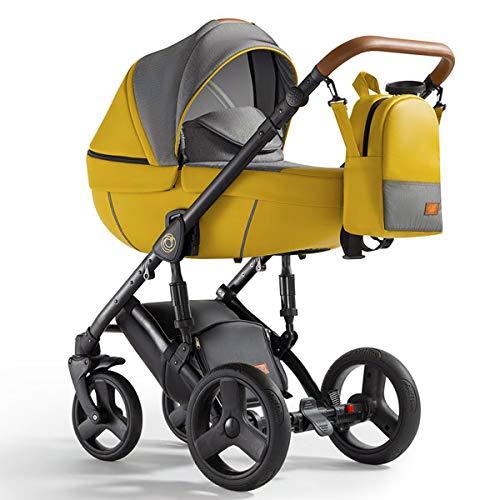 Krausman Kinderwagen 3 in 1 Nexxo Yellow Kombikinderwagen Babyschale Babywanne Sportwagen Design Made In Germany