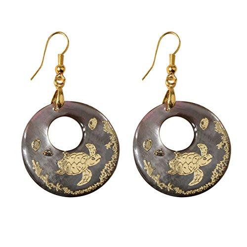Natuurlijke Abalone schelp oorbellen ronde glanzende Drop Dangle Oorbellen Fashion elegante vrouwelijke sieraden cadeau voor dames Girlsgold kleur