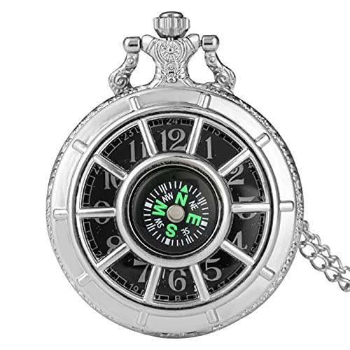 Reloj de Bolsillo Diseño de brújula Reloj de Bolsillo Hueco Hueco Retro Reloj de Pared Antiguo con Esfera Redonda Estrellada Negra