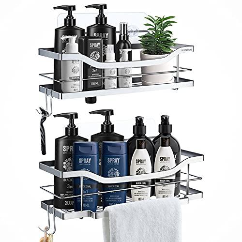 Homemaxs Duschregal Ohne Bohren 2 Stück, Duschkorb Regal mit Turmbügel & 4 Haken, 304 Edelstahl Stark klebender Duschorganisator, Duschkörbe mit einzigartigem Invert-Design für Badezimmerküche