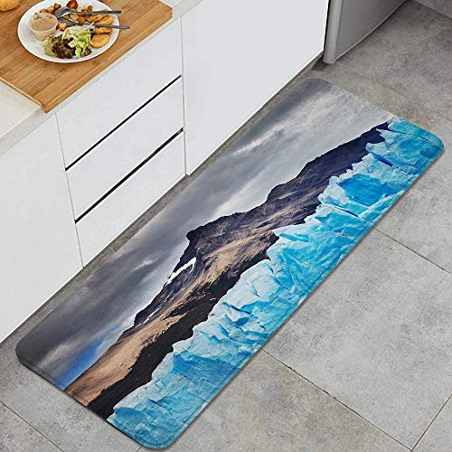 GEEVOSUN Glaciar Perito Moreno Lago Argentino Patagonia Argentina Alfombrillas de Cocina Antideslizantes Felpudo Lavable Juego de Alfombras de Microfibra