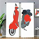 SoSung Kitchen Curtains Motor Scooter Doodle in Nice Sixties Style Driving Motorcycle Urban Cartoon Clipart Decorative Window TreatmentsBlinds and Shades Blackout White,W72 x L84