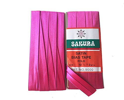 Sakura Satin Bias Tape Fold - Single Fold #Deep Pink Color 12 Mm. (3 Yards/Pack) Set of 4