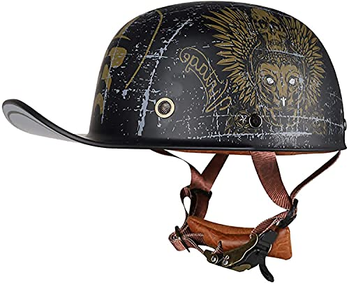 TYYCKJ Cascos para adultos Motocicleta, casco retro certificado DOT para hombres y mujeres estilo alemán gorra de béisbol de verano media concha casco Touring ciclomotor vintage abierto casco