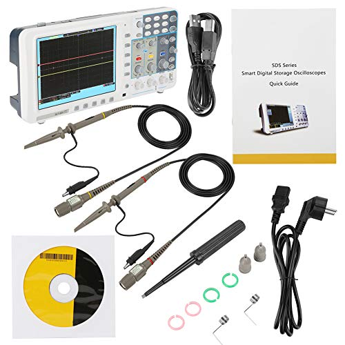 "Akozon USB Oszilloskop 100-240V OWON SDS7102 / SDS7102V 100M 1G / s Großes LCD 8\""LAN USB VGA Oszilloskop(SDS7102 EU-Stecker)"