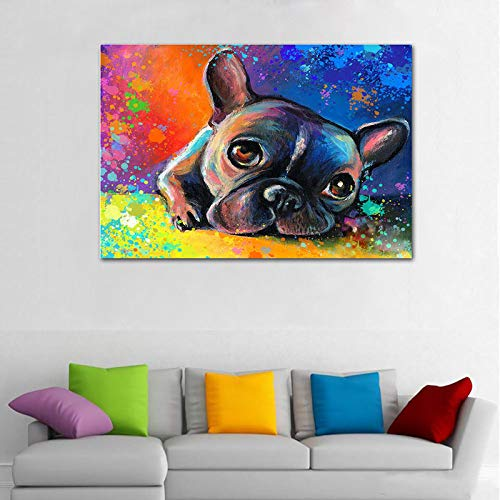 Faicai Art Whimsical Colorful French Bulldog Wall Art Canvas Prints Abstract Animal Paintings Modern HD Printed Oil Painting Home Decor Pictures for Living Room Bedroom Office Wooden Framed 24'x36'