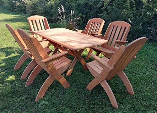 STOLLDREW Gartenset (Lamel X 2) Hochwertige Tischgruppe und Sitzgruppe, Kiefer Massivholz Gartenset, Klappbare Gartenmoebel aus Holz, Gartentisch mit 6 Klappzstuhl (Teak)