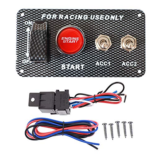 ITYAGUY 12V Racing Ignition Switch Panel Car Engine Start Push Button LED Toggle Panel 4 in 1 for Racing Sport Competitive Car Red