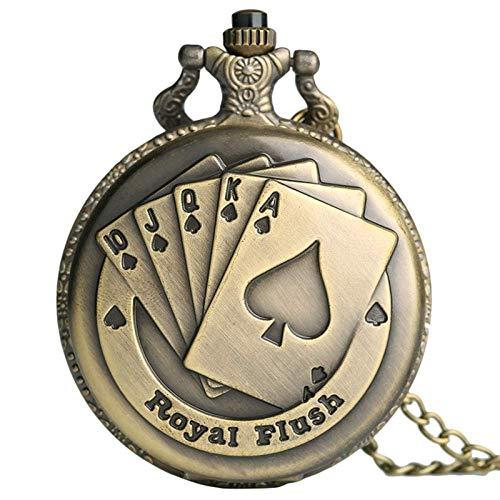YXZQ Taschenuhr, Flush Poker Cards Pattern Halskette Uhr Vintage Style Bronze Anhänger Kette Noble 3D Poker Face Uhr Quarz FOB Taschenuhr