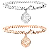 MOWOM 2PCS Silver Rose Gold Tone Stainless Steel Bracelet Wrist Link Tree of Life Set