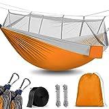 Hamaca para Acampar con mosquitera, 260x140cm Hamacas Camping Colgantes Portátil, Nailon de Paracaídas de Secado Rápido, Transpirable Ultra Ligera para Viaje y Playa, Capacidad 300KG(Naranja)