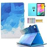 Funda para Samsung Galaxy Tab A 10.1 pulgadas 2019 Tablet, AMOTIE Slim Folio Stand Smart Soft Funda protectora con soporte para lápiz, bolsillo para Galaxy Tab A 10.1 SM-T510/SM-T515, azul y blanco