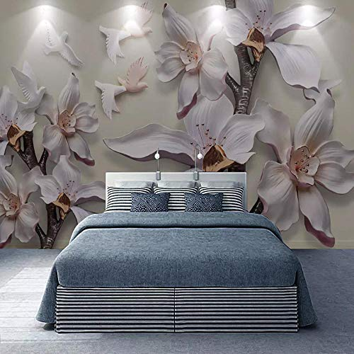 ZJfong Fotobehang 3D Stereo Bloemen Magnolia Muren Woonkamer Slaapkamer Home Decor Achtergrond Muur Schilderen 300 x 200 cm.