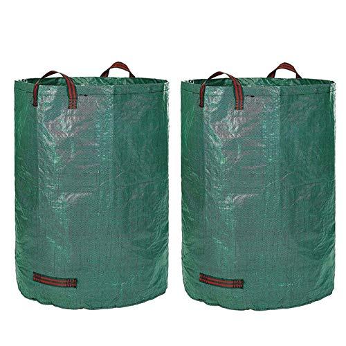 WZDD 2er-Pack Gartenabfallsack 50L/13Gallon, Abfallsack Gartenabfälle, Laubsäcke & Gartensäcke, Wiederverwendbarer, Aus Robustem Polypropylen-Gewebe (PP)