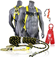 KwikSafety (Charlotte, NC) TORNADO ASSEMBLY   1D Full Body Safety Harness, 50 ft Vertical Lifeline, Tool Lanyard, Roof Anchor ANSI OSHA PPE Fall Protection Arrest Restraint Construction Roofing Bucket