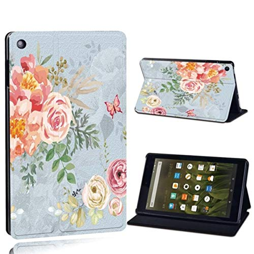 for Amazon Fire 7 5/7/9th Fire HD 8 /HD 10 with Alexa-Printed PU Leather Tablet Stand Folio Shockproof Cover Case,2.Vintage Floral,Fire HD 10