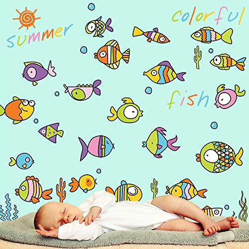Cartone animato colorato pesci adesivi murali in vinile fai da te animale murale di arte per bambini camere bagno piastrelle decorative decalcomanie