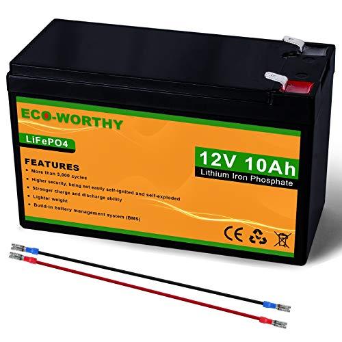 ECO-WORTHY 12V 10Ah Batería recargable de fosfato de litio y hierro LiFePO4 con más de 3000 veces de ciclo profundo y protección BMS para kit de panel solar, scooter, RV, marino, hogar, scooter