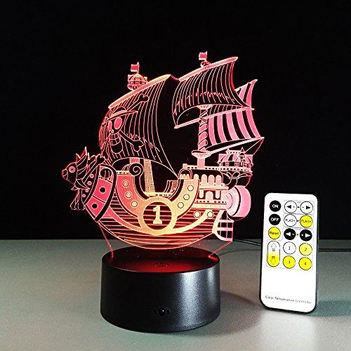 jiushixw 3D acryl nachtlampje met afstandsbediening kleur tafellamp zeilboot variabel of chloe tafellamp