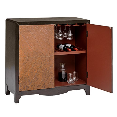 "Pulaski Industrial Adjustable Shelf 2 Door Copper Sheet Wine Bar Cabinet, 36"" x 15"" x 36"""