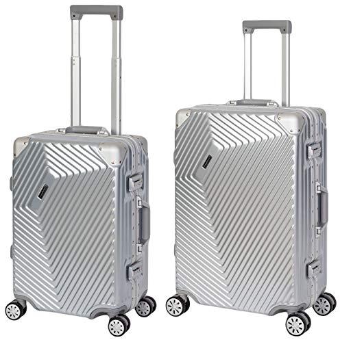 Travelhouse Roma 2er Koffer Set S,M, Silber, Polycarbonat Hartschale, Alu-Rahmen, Reisegepäck Reisetrolley Trolley Reisekoffer