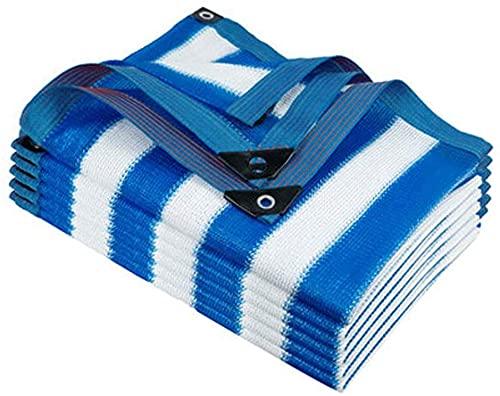 ZXCVB Tela de protección solar con ojales azul y blanco, tela de protección solar para balcón, jardín, invernadero, plantas, tela de sombra de bloqueador solar (color: azul, tamaño: 4 x 6 m)