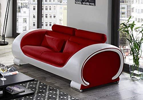 SAM 2-Sitzer Vigo, rot/weiß, Couch aus Kunstleder, Verstellbare Kopfstützen