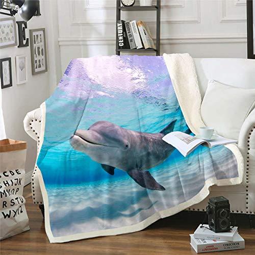 Loussiesd Manta de forro polar para sofá cama, criaturas de mar, decoración ultra suave, diseño de animales acuáticos impresos, manta difusa doble de 156 x 182 cm