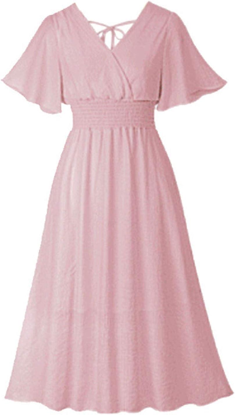 Uaneo Women's Slim Flutter Sleeve V Neck Elastic Waist Pleated Swing Midi Dress(Pink-XS)