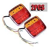 2pcs Luces Traseras Remolque LED Piloto Freno de Señal Impermeable Rojo Ambar Lámpara de Matrícula Placa Indicador Luces de Cola para Caravana Coche Camión Barco Tractor 12V (20LED)