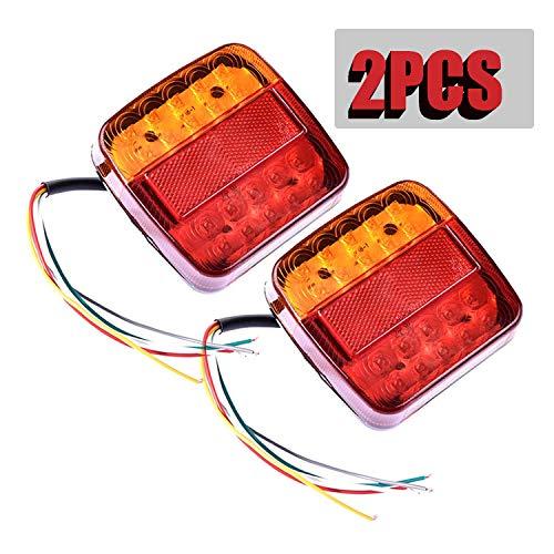 2pcs Luces Traseras Piloto Remolque LED Freno de Señal Impermeable Rojo Ambar Lámpara de Matrícula Placa Indicador Luces de Cola para Caravana Coche Camión Barco Tractor 12V (20LED)