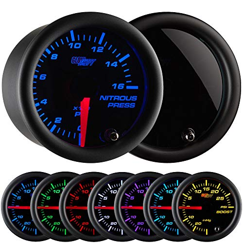 GlowShift Tinted 7 Color 1,600 PSI Nitrous NOS Pressure Gauge Kit - Includes Electronic Sensor - Black Dial - Smoked Lens - 2-1/16