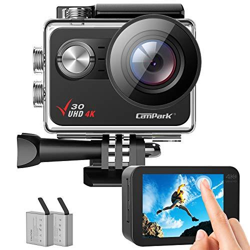 Campark Action Cam, 4K 20MP Wi-Fi Unterwasserkamera unterstützt externer Mikrofon, 4X Zoomen EIS Anti-Shake 40M Wasserdicht Helmkamera, Zubehör Kit Sportkamera 2x1350mAh Batterien