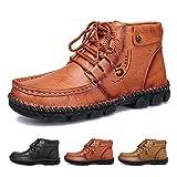 gracosy Zapatos de Cuero para Hombre Invierno 2020 Real Cuero Chukka Trekking Zapatos Planos Botines Mocasines Casual Zapatillas Artificial Transpirable Oxford Conducir Zapatos