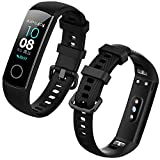 Th-some Honor Band 5 / Band 4 Pulsera de Gel de sílice Correa Reemplazable, Correa para Huawei Honor Band 4 Band 5 Colorido Suave Silicona Correa Impermeable, Negro
