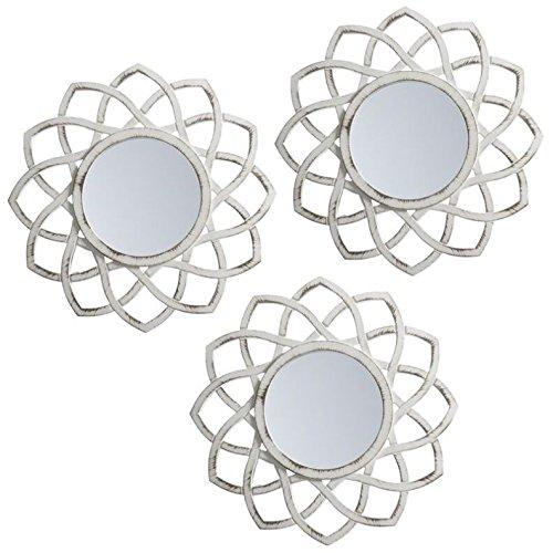 Lama Espejos de Pared, Blanco, 75x25x1.5 cm, 3 Unidades