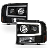 ACANII - For NEW Black 1999-2004 Ford F250 F350 F450 SD [LED Light Tube] Projector Headlights Driver & Passenger Side