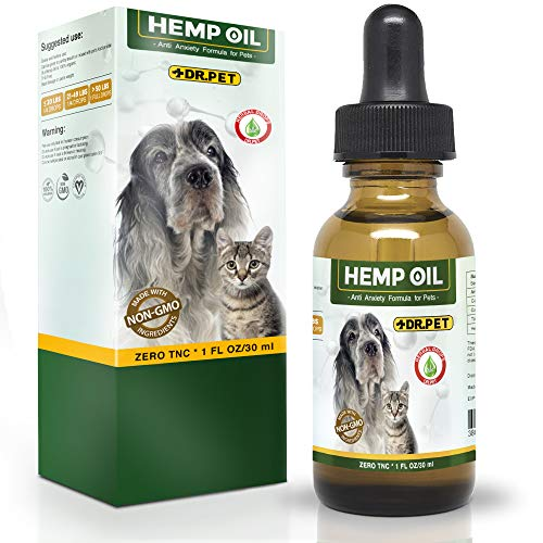 Dr. Pet Hemp Oil for Dogs and Cats - 250mg - Stress & Anxiety Relief - Advanced Formula - Organic - Supports Hip & Joint Health, Natural Relief for Separation Anxiety
