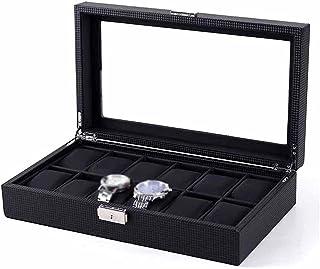 LXSNH New Carbon Fibre Watch Storage Boîte Boîte Noir PU en Cuir Organisateur avec Wark Watch Boîtes de Rangement Bijoux C...
