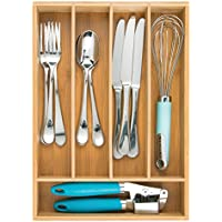 Idesign InterDesign Bamboo Cutlery Tray and Drawer Organizer with Divided Compartments