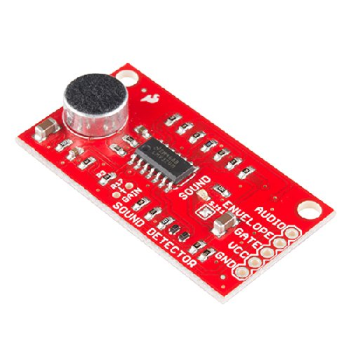 SparkFun Sound Detector Audio sensing breakout Three different outputs Audio Presence of sound Binary indication Amplitude Analog representation VCC: 3.5V to 5.5V Ideal voltage is 5V
